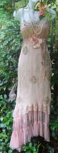 Blush maxi dress pink sequins  silk lace  by vintageopulence, $160.00