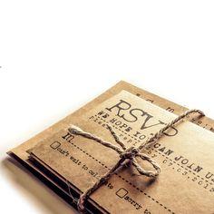 Invitation de mariage de machine à écrire - invitations de mariage rustique de papier - Suite de mariage Vintage - KRAFT - Sample set