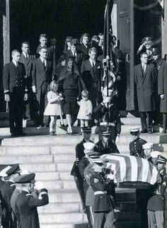 John F. Kennedy's family (and a few others) leaving the Capitol after viewing him lying in state. President Kennedy was buried at Arlington National Cemetery on Nov. 25, 1963.