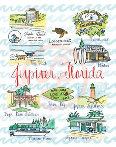 Original Jupiter Florida Souvenir Art Watercolor Florida by PureJoyPaperie