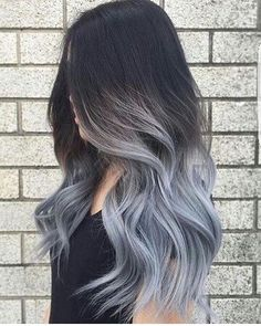 Are you looking for ombre hair color for grey silver? See our collection full of ombre hair color for grey silver and get inspired! Ombre Hair Color, Cool Hair Color, Gray Ombre, Brown To Grey Ombre, Faded Hair Color, Wash Out Hair Color, At Home Hair Color, Dark Grey, Dark Brown