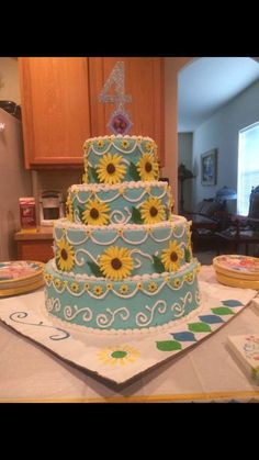 Frozen Fever Cake! Replica of Anna's birthday cake in Frozen Fever! {thejeters.blogspot.com}