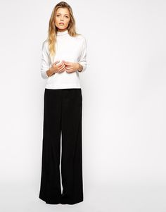 Image 1 of ASOS Wide Leg Trouser With Pintuck