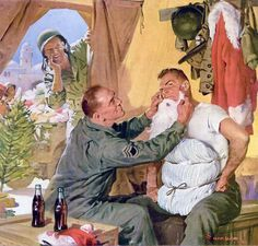 Best Santa Claus Ever Coca-Cola LIFE Mag 20 dez 1943 Dark period for Americans in World War II. Coca-Cola sends a very human message: brave man still mantaining traditions, anywhere. In this case, North Africa.