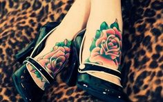Coloured rose tattoo: Foot tattoos for girls. These are too cute. I love foot tattoos, but I'm afraid of how much they'll hurt!