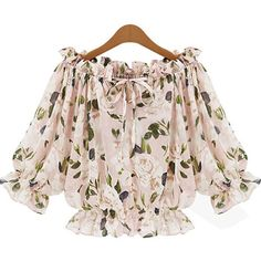 Light Pink Boat Neck Floral Print Chiffon Top ($17) ❤ liked on Polyvore featuring tops, blouses, crop tops, shirts, chiffon blouse, chiffon shirt, light pink shirt, pink chiffon shirt and pink crop top