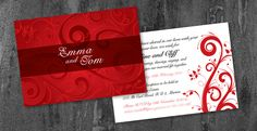 Rich red wedding invite with swirls