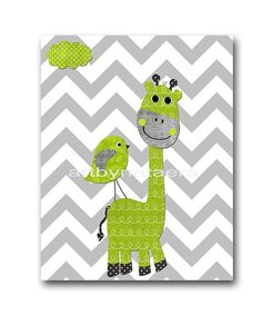 Giraffe Nursery Baby Boy Nursery Art Nursery wall art baby nursery kids room decor Kids Art Boy Print 8x10 bird nursery green gray giraffe via Etsy