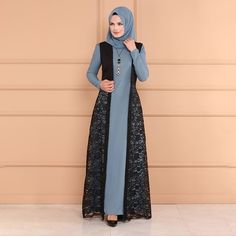 2019 Plus Size Women Islamic Muslim Dress Vintage Long Sleeve Lady Printed Abaya Dresses Formal Party Dress Dubai Dresses Abaya Fashion, Fashion Outfits, Abaya Mode, Hijab Evening Dress, Hijab Stile, Hijab Style Dress, Muslim Women Fashion, Muslim Dress, Modest Dresses