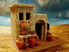 casas para pesebres - Cerca con Google Dollhouse Miniature Tutorials, Miniature Rooms, Miniature Houses, Miniature Furniture, Dollhouse Miniatures, Clay Houses, Ceramic Houses, Bird Houses, Christmas Nativity Scene