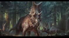 The old bull, a Diabloceratops. A battle scarred combat veteran of 30 years including two encounters with the stealthy and elusive 'Gore King' The old bull Prehistoric Wildlife, Prehistoric Creatures, Dinosaur Pictures, Dinosaur Art, Dinosaur Crafts, Dragons, Jurassic Park World, Extinct Animals, Creature Concept