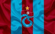 Download wallpapers Trabzonspor, Turkish football club, emblem, Trabzonspor logo, red silk flag, Trabzon, Turkey, Turkish Football Championship