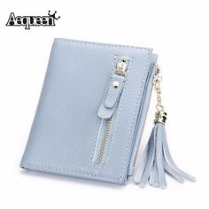bd02ade6e47f AEQUEEN Genuine Leather Tassel Wallets Women Coin Purses Fashion Cowhide  Lady Short Wallet Card Bag Cards