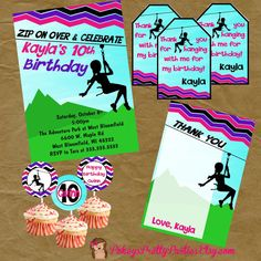 ZIPLINE Zip Line Party Birthday PACKAGE By PokeysPrettyParties