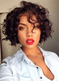 Short wavy bob wigs for black women wavy bob hairstyles human hair wigs lace front wigs short curly bob hairstyles Curly Bob Hairstyles, African Hairstyles, Hairstyle Short, Black Hairstyles, Easy Hairstyles, Hairstyles 2016, Pixie Haircuts, Wedding Hairstyles, Short Curly Hairstyles For Women