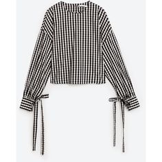 TERNET VICHY TOP - Se alle varer-SKJORTER-DAME | ZARA Danmark (€27) ❤ liked on Polyvore featuring tops, zara, white tops, vichy and gingham top