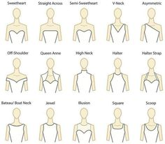 Decode neckline styles. And think about what kind of neckline makes you feel most confident; you don't want to feel self-conscious about a strapless dress while doing your Naomi Campbell walk down the aisle.