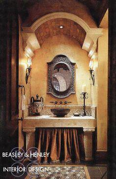 Beasley & Henley Interior Design - Mediterraean  Powder Room
