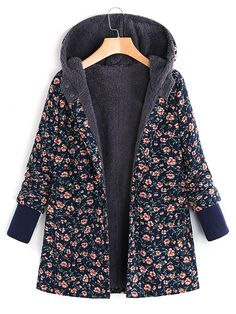 Newly Floral Print Thicken Fleece Coat Women Winter Warm Jackets Oversize Hoodie Coats Loose Topcoat 81106 NY M Winter Coats Women, Coats For Women, Clothes For Women, Fashion Trends 2018, Vintage Coat, Vintage Black, Types Of Sleeves, Hooded Jacket, Winter Outfits