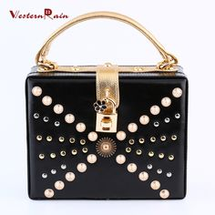 WesternRain 2017 Dark Black Top Quality Gold Plated Beads with Gold Chain Fashion Ladies Luxury Party Square Handbag 2689-8-B3 (Color: Black) Brand Name: WesternRain Item Type: bag Fine or Fashion: Fashion Included Additional Item:bag Style: Trendy Gender:Women Material:PU leather Occasion:Wedding,Party Metals Type: Copper alloy Shape: Square Size of bag: 20cmX16cm The thickness of bag: about 8cm The bag belt could be adjusted