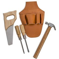 Pretend Play Wooden Tool Pouch Set Carpentry Tool for ages 8  -- Continue to the product at the image link.
