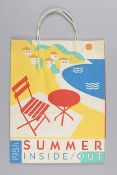 """""""Conran's/ Summer Inside Out Recto: Red. yellow, blue and green image of beach table and chair on shore, with house in distance. beach scene on right. Side panels: Store name. Packaging Design, Branding Design, Bag Packaging, Tableaux D'inspiration, Paper Bag Design, Industrial Design Sketch, Graphic Design Typography, Box Design, Design Process"""