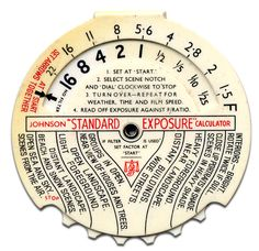 """Exposure Calculator (from era when """"photography"""" just about required slide rule skills)"""
