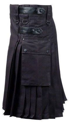 Black Deluxe Utility Fashion Kilt $68.21 – $123.23 Kilt size 32 to 76 waists available Pocket: 2 flap pockets with metal buttons and fittings. Fittings: Metal buckles, buttons and 4 internal studs for better fitting. Black leather straps, 2 on both sides, making this kilt a unique