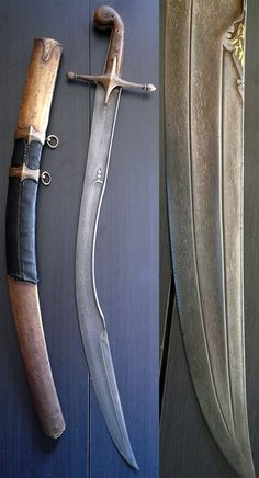 The short version of the Ottoman kilij sometimes known as ''pala'', with deeply curved wide blade and 'T' spine, used from the early 17 C. for more than 300 years well into the 20th C, damascus steel blade with T-section spine extending to the yelman, brass guard and brown horn grip scales. Leather-covered spiral stitched scabbard, brass mounts.