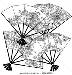 Uncoloured Oriental fans decorated with floral patterns for adult coloring book. The best for your design, textiles, posters, adult coloring book Adult Coloring, Coloring Books, Coloring Pages, Lantern Drawing, Fan Image, Fan Drawing, Fan Tattoo, Ink Addiction, Ink Illustrations
