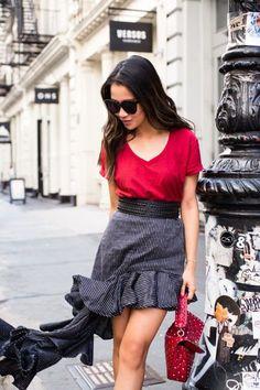 Hanes Crew-neck t-shirt |  Beaufille skirt | Valentino bag
