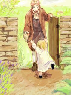 Little Alfred greeting Arthur at the door. This is just too sweet :) - Art by またね