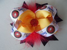 USMC Stacked Hair Bow Gold Red Black Marabou MY by sasbowtique, $8.00