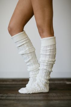 Ivory Knitted Slipper Boot Socks Cable Knit by ThreeBirdNest, $48.00