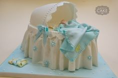 "Bassinet Cake!  ""Baby Boy Bassinet"" or change colors to make it a ""Baby Girl Bassinet"" a must for daughters baby shower"