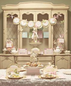 beautiful pink and gold girl's party I like the banner. need lace, sparkle and pink!