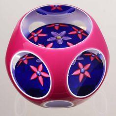 Peter McDougall Double Overlay Six Flowers on Blue Ground | eBay!