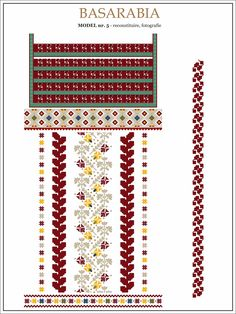 traditional Romanian pattern - north of Bessarabia Folk Embroidery, Learn Embroidery, Floral Embroidery, Embroidery Patterns, Stitch Patterns, Cross Stitch Letters, Cross Stitch Fabric, Palestinian Embroidery, Embroidery Techniques