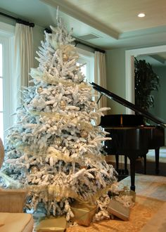 A flocked Christmas tree makes for a very white Christmas.