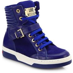 Love Moschino Leather & Suede High-Top Buckle Sneakers ($345) ❤ liked on Polyvore featuring shoes, sneakers, apparel & accessories, blue, blue suede shoes, suede shoes, high top shoes, high top sneakers and suede high top sneakers