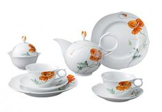 "Tea-Set 8 pieces 2 persons, Shape ""Waves relief"", Wild poppy, red, white rim"