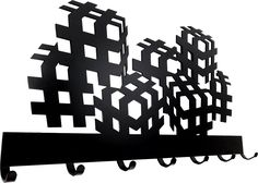 Wieszak Kostka 3D designerski, czarny, naścienny, wytrzymały