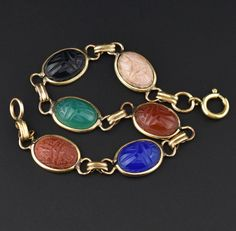 Egyptian Revival Scarab Beetle Gemstone Bracelet #Classic #Gold #intage #Bracelet #Agate #Charm #Modern #Pendant #Yellow #Simple