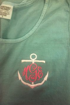 Monogrammed Anchor Comfort Color Tank Top by BlueSuedeStitches, $18.00