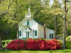 Love the azaleas in front of this pretty white church