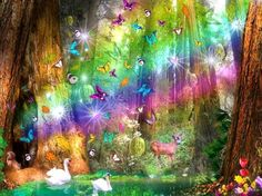 ★Rainbow Paradise★ - love four seasons, attractions in dreams, animals, digital art, beautiful, forests, colors, lovely, paradise, swans, rainbows, butterfly designs, butterflies, nature, creative pre-made