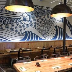 restaurant wall wave mural at japanese restaurant in davis square Japanese Restaurant Interior, Japanese Interior, Restaurant Interior Design, Shop Interior Design, Cafe Design, Noodle Bar, Restaurant Concept, Japan Design, Tap Room