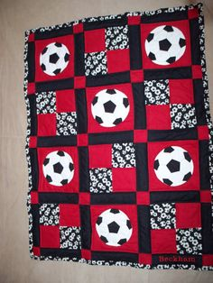 Red Black and White Soccer Quilt by YoderbyDesign on Etsy, $75.00