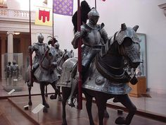 Armor for man and horse, dated 1548. The etched steel armor is German-made, by Kunz Lochner. The Metropolitan Museum of Art, New York City.