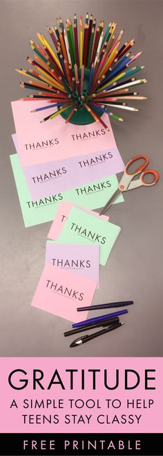 Free printable thank you notes in a stations activity for teens #highschool #middleschool